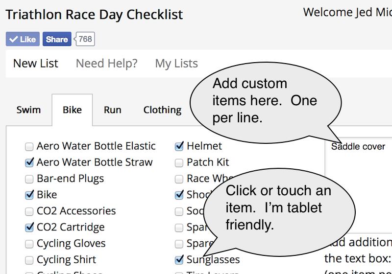 Click or touch triathlon race items